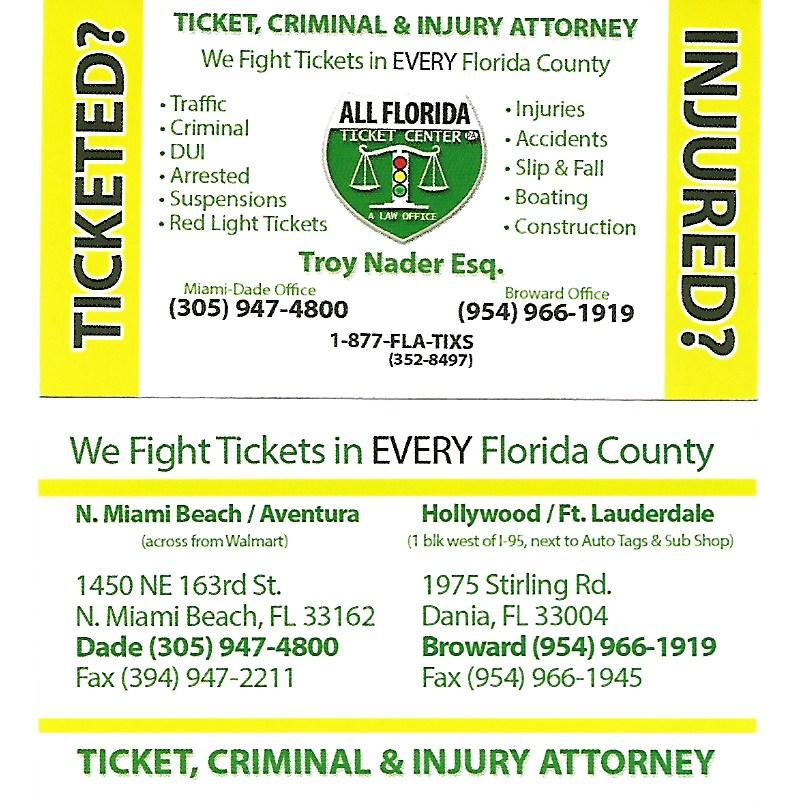Florida Ticket Center 954 966 1919. The Law Offices Of Troy Nader 1975  Stirling Rd Dania, FL 33004